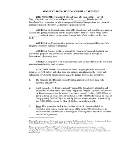 sponsor agreement template 15 sponsorship agreement templates free sle exle