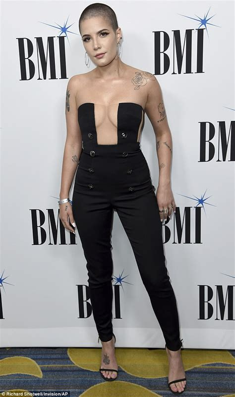 halsey debuts edgy new buzz cut in tuxedo jumpsuit daily