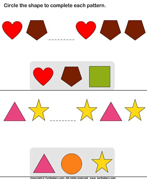 shape pattern questions circle missing shape to complete patterns worksheet