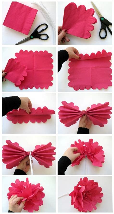 How To Make A Flower Out Of Paper For - diy how to make a flower out of paper napkin