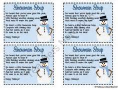 Snowman soup poem printable new calendar template site