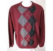 New Mens Red Argyle Sweater Xl Geoffrey Beene Classic Crewneck Soft
