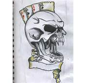 Tattoo On Scary Skull With Clown Cap Bicep