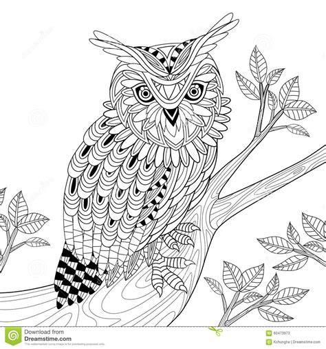 wise owl coloring page wise owl stock illustration image of drawing ethnic