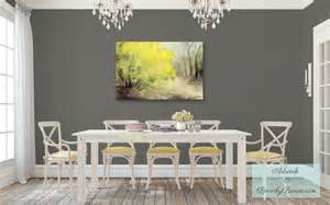 shabby chic gray dining room with yellow forsythia canvas