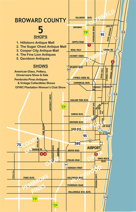 broward county florida map maps of antique shops in broward county florida
