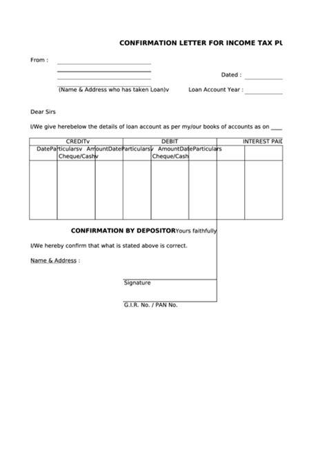 confirmation letter template income tax purpose