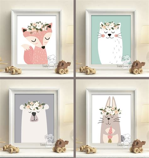 woodland animals nursery prints set pastel colors baby
