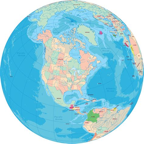 america map on globe america political maps and globes usa canada bahamas