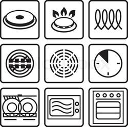 Induction Cooktop Frying Pan Symbols Indicate Properties And Destination Of A Metallic