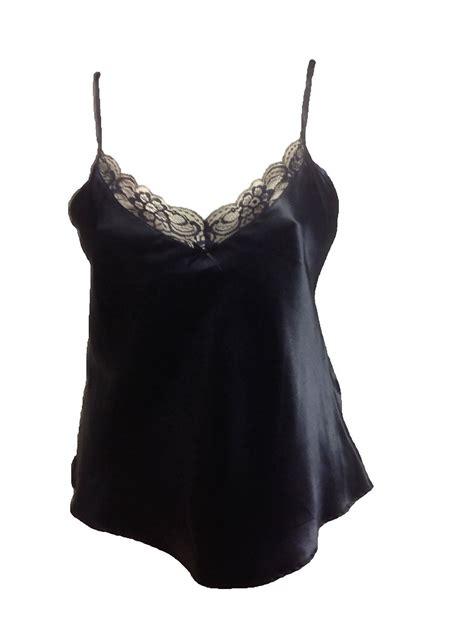 Lace Back Camisole Top black satin cami top silk camisole vest lace