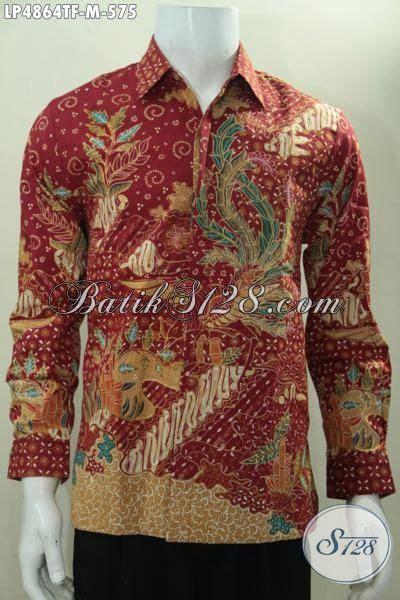 Kemeja Batik Premium Lengan Panjang kemeja batik mewah 500 ribuan busana batik premium lengan panjang merah motif klasik daleman