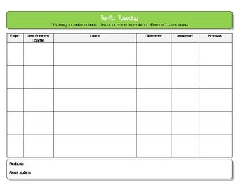 daily lesson plan template 5 subject pdf by lady kay tpt