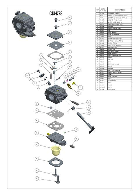 zama carburetor diagram c1u k78 zama carburetor for echo blower pb201 ps200 es210