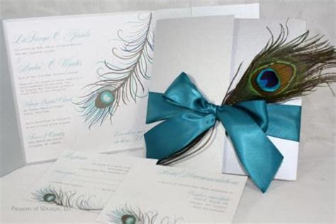 peacock wedding invitations silver and teal fabulous