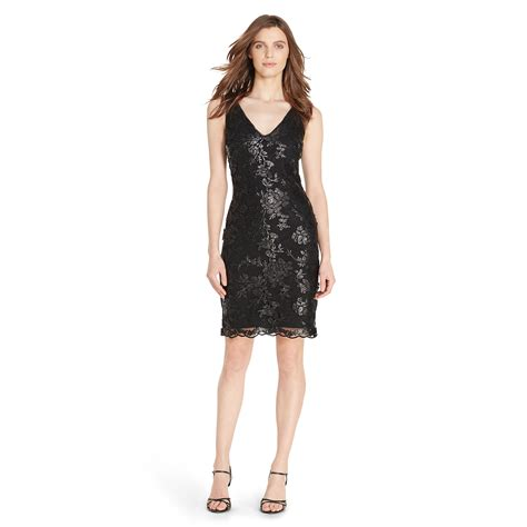 Sequined Sheath Dress pink pony sequined lace sheath dress in black lyst