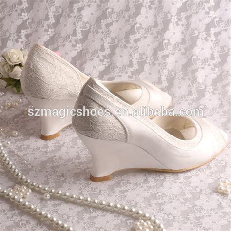 Ivory Wedding Shoes Wedge Heel by Wedge Heel Bridal Shoes Wedding Pumps Ivory Open Toe View