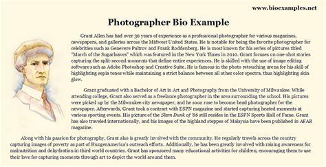 photographer biography sle bio exles pinterest
