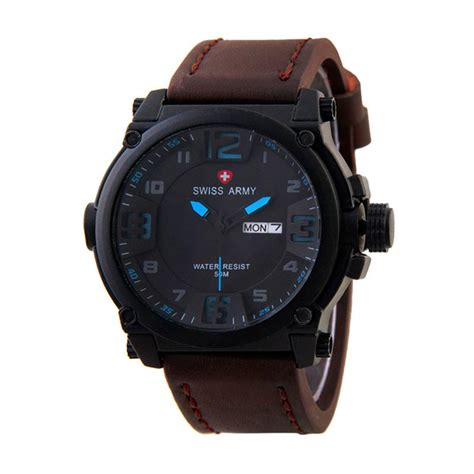 Jam Tangan Swiss Army Sa 7169 jual swiss army sa 7169 stainless kulit jam tangan
