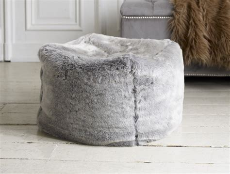 Fluffy Pouf Ottoman A Truly Pouf In Soft Silvery Grey Faux Fur With A Dense And Medium Length Pile
