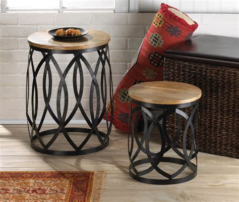 end table set coffee furniture accent wood metal
