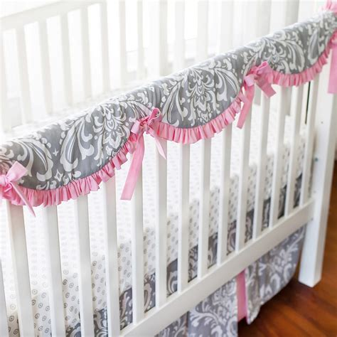 Baby Crib Protector Pink And Gray Crib Rail Cover Set Pink Baby Bedding Baby Bedding