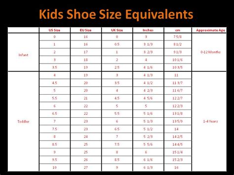 shoe size chart in inches us children shoe size chart google search kid stuff