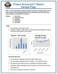 Project Report Samples What Are Project Scorecards Allan Lowe Construction