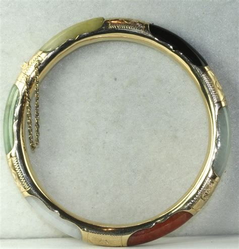vintage 14k gold multi color jade bangle bracelet