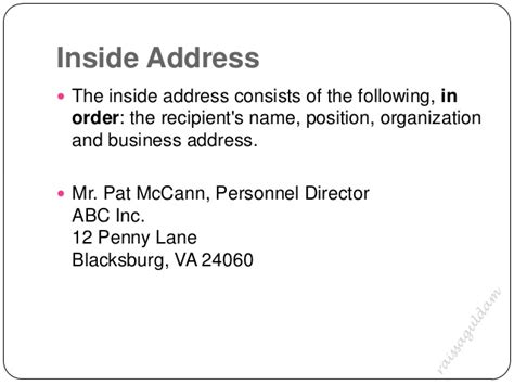 business letter no inside address the business letter