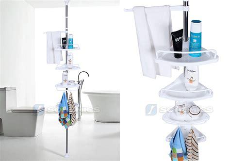 Telescopic Bathroom Shelves Songmics 4 Tier Shower Corner Bathroom Shelf Storage Telescopic 120 300cm Bcb002 Ebay