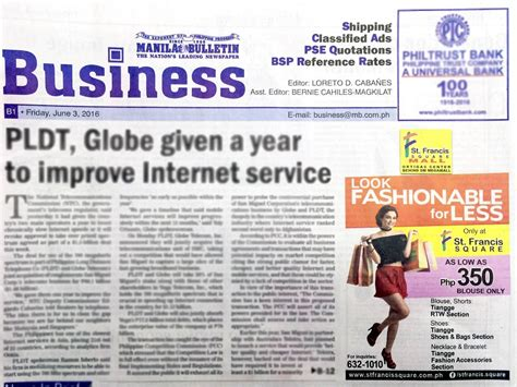 business section of newspaper st francis square mall tiangge