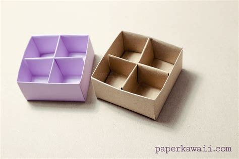 Origami Box With Divider - origami masu box divider tutorial paper kawaii