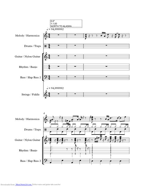 ak music north to alaska music sheet and notes by johnny horton