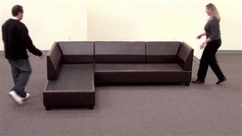 couch means bobkona sectional sofa reversible assembly youtube