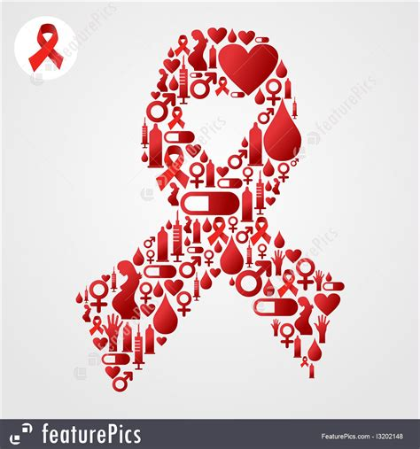 red ribbon symbol  aids icons illustration