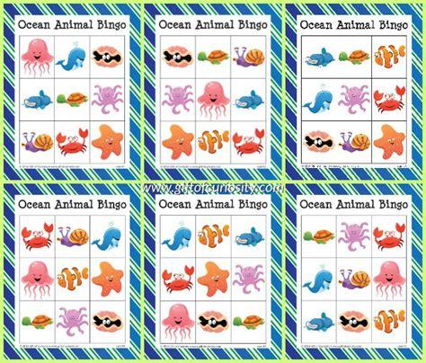 printable animal bingo games ocean animal bingo free ocean printables gift of curiosity