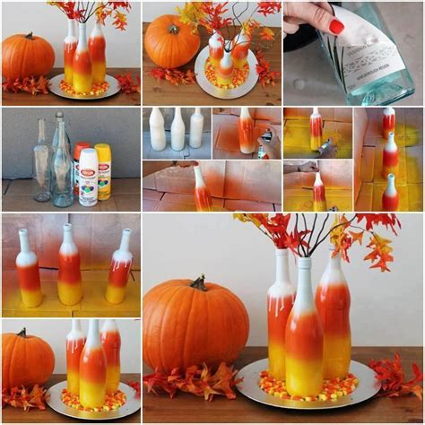 fall decorations to make at home paint the inside of clear bottles to create beautiful