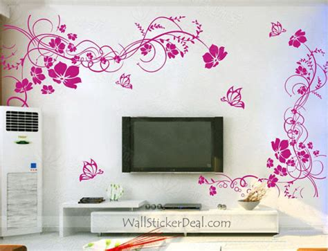 home decor wall decals 2 sets beautiful flower with butterfly wall stickers home decorating photo 32430802 fanpop