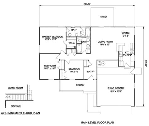 Ranch Style House Plan 3 Beds 2 Baths 1250 Sq Ft Plan 1250 Sq Ft House Plans