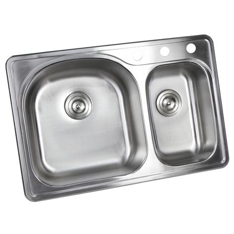 double bowl kitchen sink for 30 inch cabinet 33 inch top mount drop in stainless steel 70 30 double