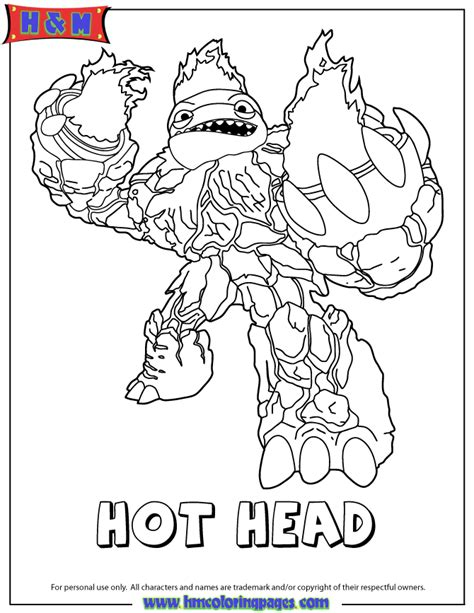 skylanders giants fire hot head coloring page h m