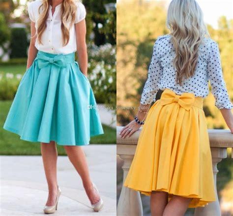 Pleated Plain Mini Skirt 2018 plain bowknot pleated skirts for