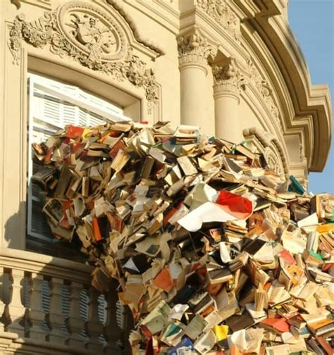 cascading books installations recyclart