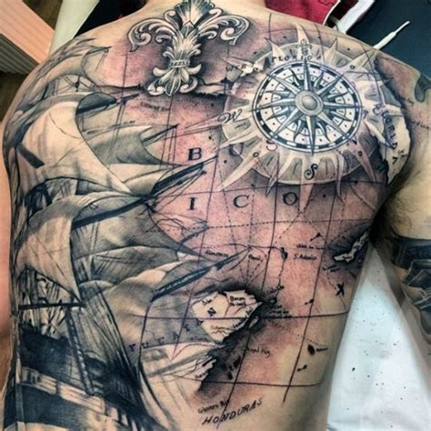black and grey pirate ship with map tattoo on full back