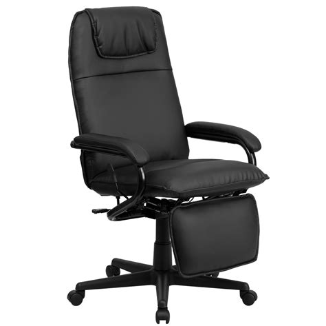 Reclining Back Chair High Back Black Leather Executive Reclining Office Chair