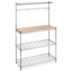 Bakers Rack Shelves New Chrome Bakers Rack With Cutting Board And Storage