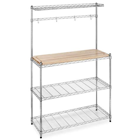 Bakers Rack With Storage Cabinets by New Chrome Bakers Rack With Cutting Board And Storage