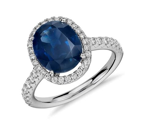 oval sapphire and micropav 233 ring in 18k white gold