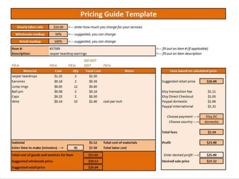 pricing template price list template 25 free word excel pdf psd
